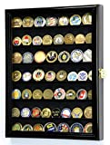 Military Challenge Coin Display Case Cabinet Rack Holder Stand Box w/ UV Protection, Black by sfDisplay.com, Factory Direct Display Cases