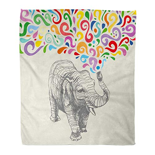 t Warm Cozy Print Flannel Pattern The Elephant Colorful Abstract Fountain Separately from Africa Comfortable Soft for Bed Sofa and Couch 60x80 Inches ()