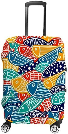 スーツケースカバー 伸縮素材 トランク カバー 洗える 汚れ防止 キズ保護 盗難防止 キャリーカバー おしゃれ 可愛い 魚 カラフル ポリエステル 海外旅行 見つけやすい 着脱簡単 1枚入り