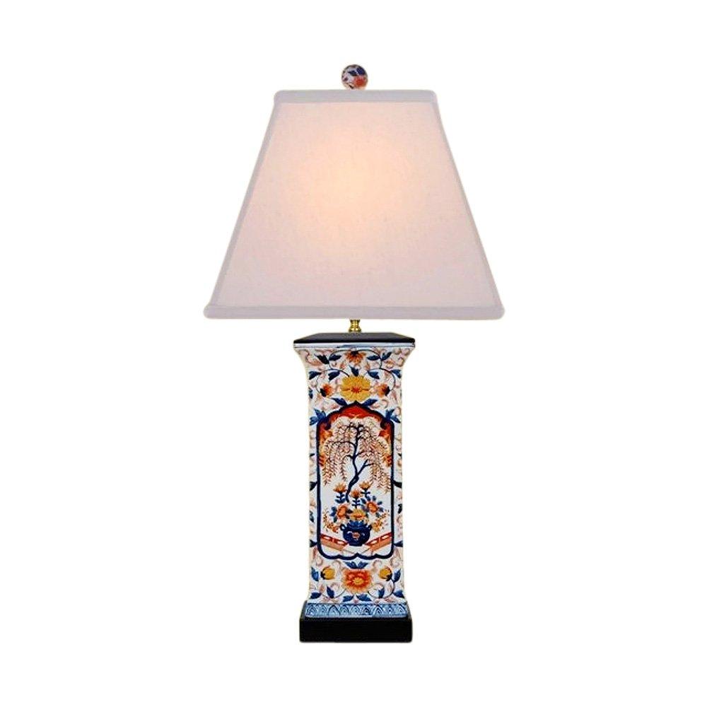 Chinese Porcelain Square Vase Floral Imari Motif Table Lamp 28''