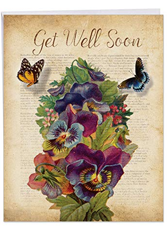 Pansy Note Card - Beautiful Flower and Butterfly Get Well Soon Card 8.5 x 11 Inch - Big Fluttering Words Greeting Cards - Elegant Floral Pansy Bouquet Feel Better Wishes (Jumbo Sized with Envelope) J6477BGWG