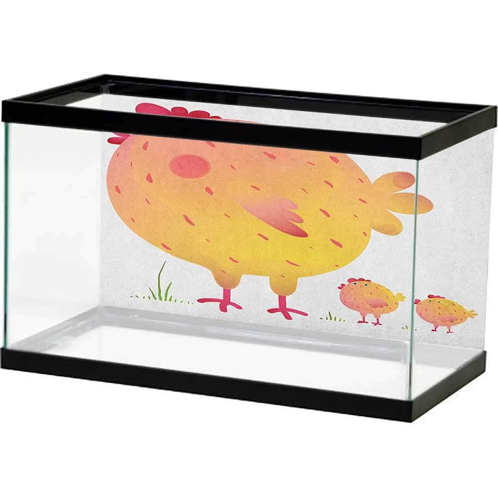 Background Fish Tank Chicken,Mother Hen and Chicks Farm Animals Agriculture Family Theme, Dark Coral Pale Orange Yellow Underwater Scene Colorful Marine Coral by homecoco