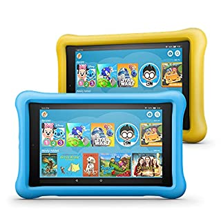 "Fire HD 8 Kids Edition Tablet 2-Pack, 8"" HD Display, 32 GB, Kid-Proof Case - Yellow/Blue (B07G7Z59QM) 