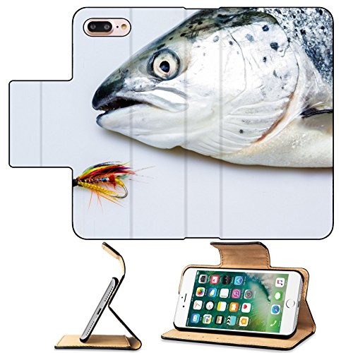 Fly Salmon Single (MSD Premium Apple iPhone 7 Plus Flip Pu Leather Wallet Case Salmon and fly IMAGE 20165021)