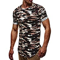 Clearance ! Men T-Shirt, ღ Ninasill ღ Exclusive Personality Camouflage Mens Casual Slim Short-sleeved Blouse (M, Gray)
