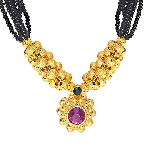 bodha 22K Gold Plated Traditional Indian Bollywood Inspired Mangalsutra Necklace for Women (SJ_2300) ()