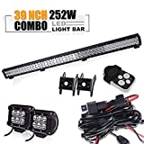 led 39 - TURBO SII 39 inch Led Work Light Bar 252w Spot Flood Combo Beam Off-road Light bar with 4Inch Led Work Light&3 lead Wirng Harness Kit For Jeep Tractor Boat Off-Road SUV ATV Truck