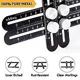 Obbu Universal Multi Angle Measuring Ruler – Premium Aluminum Metal – Angle Measuring Multi Tool – No Plastic – Laser Etched – Template Tool for Tool Box for Men – Gift for Handymen Crafts men (Black)