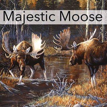 Majestic Moose On Mountain Creek Northcott cotton Fabric DP21824-36 (Moose Sampler)