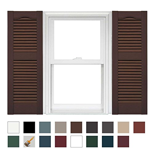 - Mid America Cathedral Open Louver Vinyl Standard Shutter - 1 Pair 14.5 x 52 009 Federal Brown