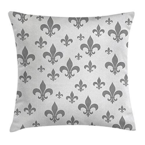 (Ambesonne Fleur De Lis Decor Throw Pillow Cushion Cover, Ethnic Lily Pattern Classic Retro Royal Vintage European Iris Ornamental Art, Decorative Square Accent Pillow Case, 20 X 20 Inches, Grey)