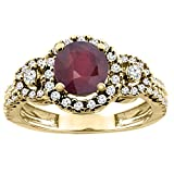 14K Yellow Gold Enhanced Genuine Ruby Ring Round 6mm, size 7.5