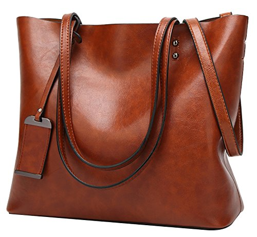 ilishop Oil PU Leather Handbag Vintage Designer Purse Classical Tote Bag Large Capacity Shoulder Bags (Classic Tote Handbag)