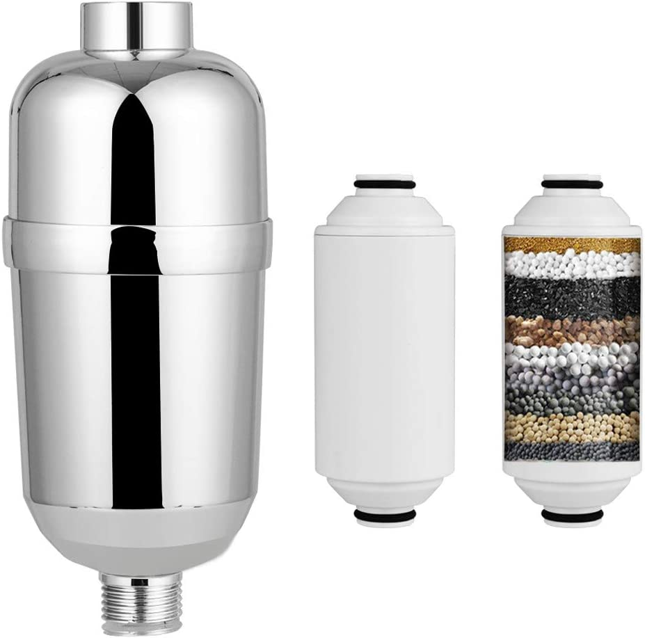 Shower Filter, Showerhead Filter 15 Layers Universal Shower Water Filter with 2 Replaceable Cartridges, Suitable for Universal Shower Head to Remove Chlorine, Irritants, Microbes and Heavy Metals