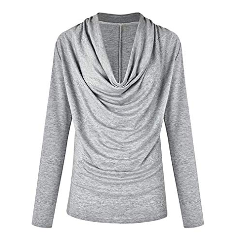 Solid Henleys Top, Clearance Duseedik Women Fashion Long Sleeve Cowl Neck Autumn Winter T Shirt Outwear (Vince Cowl Neck)