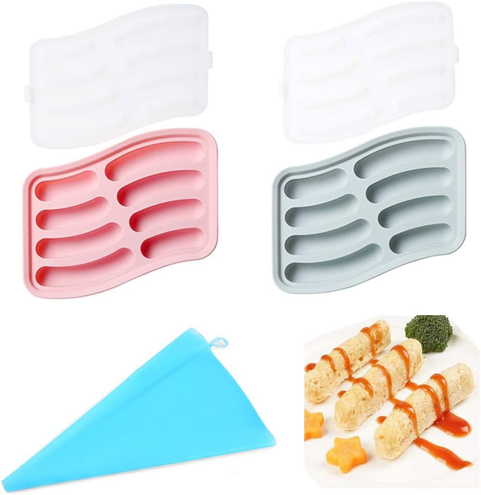 8 Cavity Silicone Sausage Maker Mold for Homemade Hot Dogs, Non-stick DIY Children Baking Mold for Egg Sausage and Baby Supplementary Sausage Candy Jelly Chocolate Mould with Pastry Bag - Pack of 2