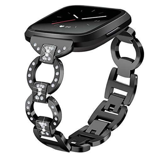 YJYdada Luxury woven Fabric Replacement Accessories Wristband Straps For Fitbit Versa (black)