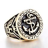 ZMY 2018 fashion mens rings jewelry 316L stainless steel ring for men, gold body anchor ring