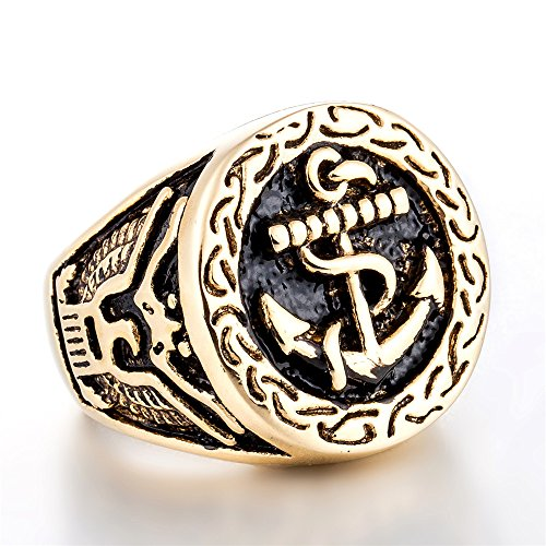 ZMY 2018 fashion mens rings jewelry 316L stainless steel ring for men, gold body anchor ring (11) by ZMY
