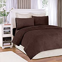 Soloft Plush Queen Bed Sheets Set, Casual Micro Plush Bed Sheets Queen, Mink Bedding Sets 4-Piece Include Flat Sheet, Fitted Sheet & 2 Pillowcases, Brown
