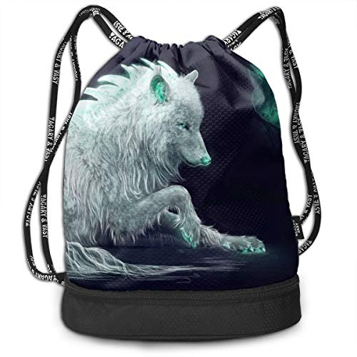 Arctic Wolf In Dark Forest Pumping Rope Bags Large Size Drawstring Bulk Backpacks Zipper Bundle Mouth Pull String Bags Unisex Beach ()