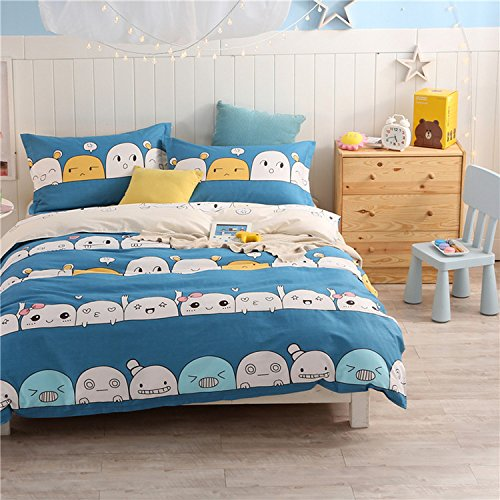 WarmGo Home Bedding Set for Adult Kids Cute Facial Expression Pattern Duvet Cover Set 4 Piece Full/Queen Size without Comforter by WarmGo