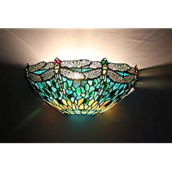 Tiffany Wall Sconce 11.8 Inch Golden Dragonfly Aquamarine Stainted Glass Wall Lamp (Green)