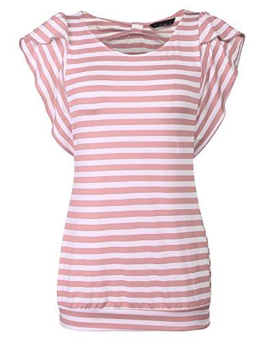 Hersife Womens Stripy Top Short Sleeve Tunics Striped Banded Bottom Shirts Pink by Hersife