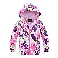 Hiheart Girls Outdoor Animal Print Water-Resistant Active Fleece Jacket with Hood Violet 5/6 White