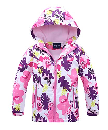 Hiheart Girls Outdoor Animal Print Water-Resistant Active Fleece Jacket with Hood Violet 5/6 ()