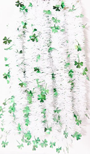 St Patrick Day Green Garland Shamrocks Party Garland -15 Feet Long (White/ Green Clovers)
