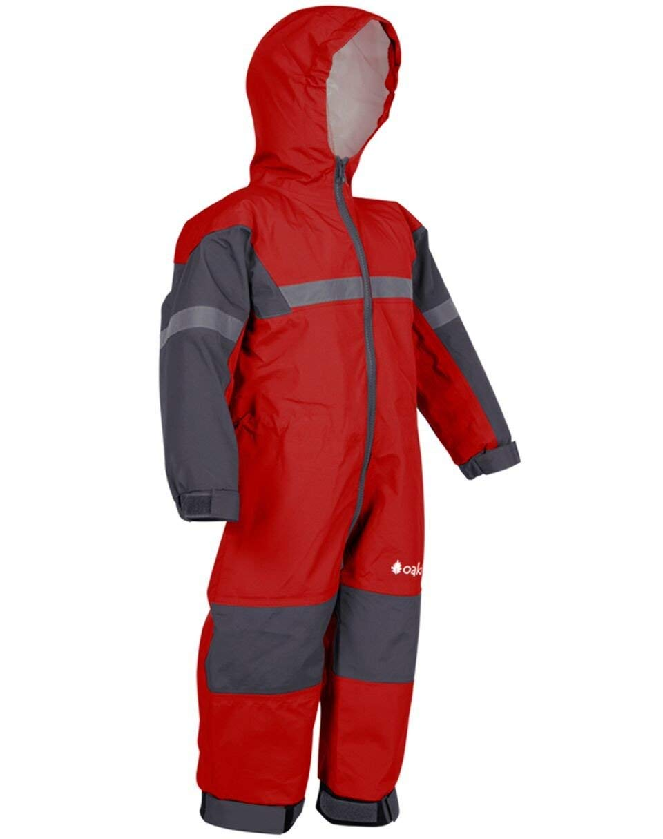 OAKI Rain Suit Kids - Toddler Snowsuit - One Piece Rain Jacket/Pant for Girls & Boys, Deep Red, 5