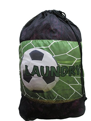 Gilbin Matching Mesh Laundry Or Sock Bag with Drawstring For Sleep Away Camp (Laundry Bag, Soccer Net) by Gilbin
