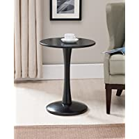 Kings Brand Furniture Black Finish Wood Round Plant Side Accent End Table