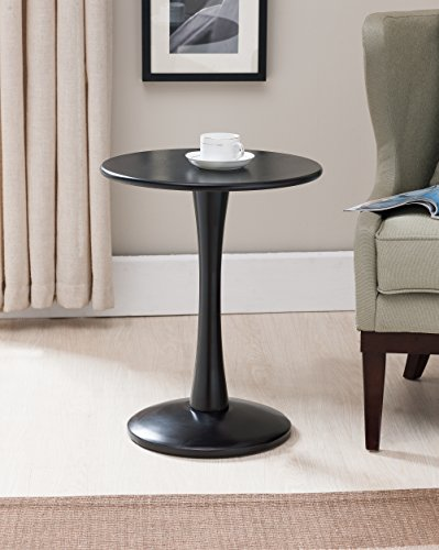 Kings Brand Furniture Black Finish Wood Round Plant Side Accent End Table ()