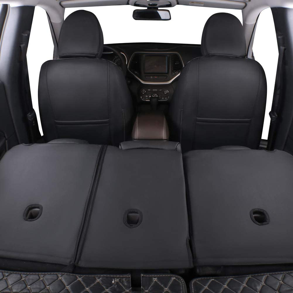 EKR Custom Fit Full Set Car Seat Covers for Select Jeep Compass 2017 2018 2019 2020 Leatherette Black