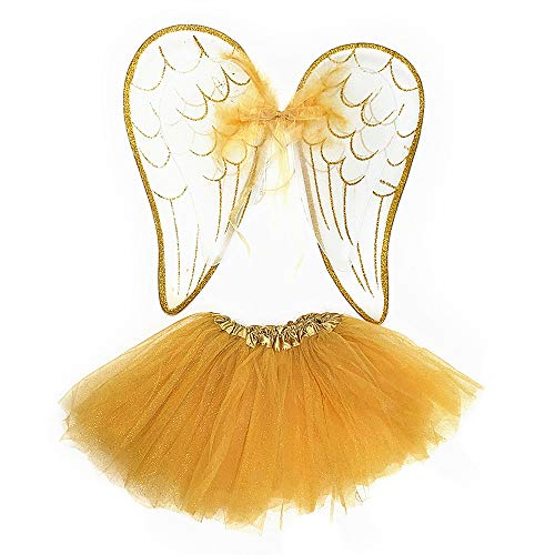 Attitude Studio Glitter Angel Feather Costume Set - Tutu Skirt & Double Layer Elastic Wings, Pretend Play Dress Up & Pixie Fairy Party Accessory, One Size for Little Girls (2pc Set) - White & Gold]()