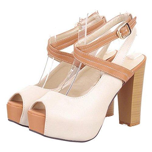FANIMILA Women Elegante Peep Toe Plataforma Sandals Open Back Tacon Ancho Zapatos Beige