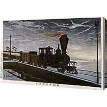 "A Steam Locomotive In Hazy Moonlight by Kobayashi Kiyochika - 13"" x 20"" Gallery Wrapped Giclee Canvas Art Print - Ready to Hang"