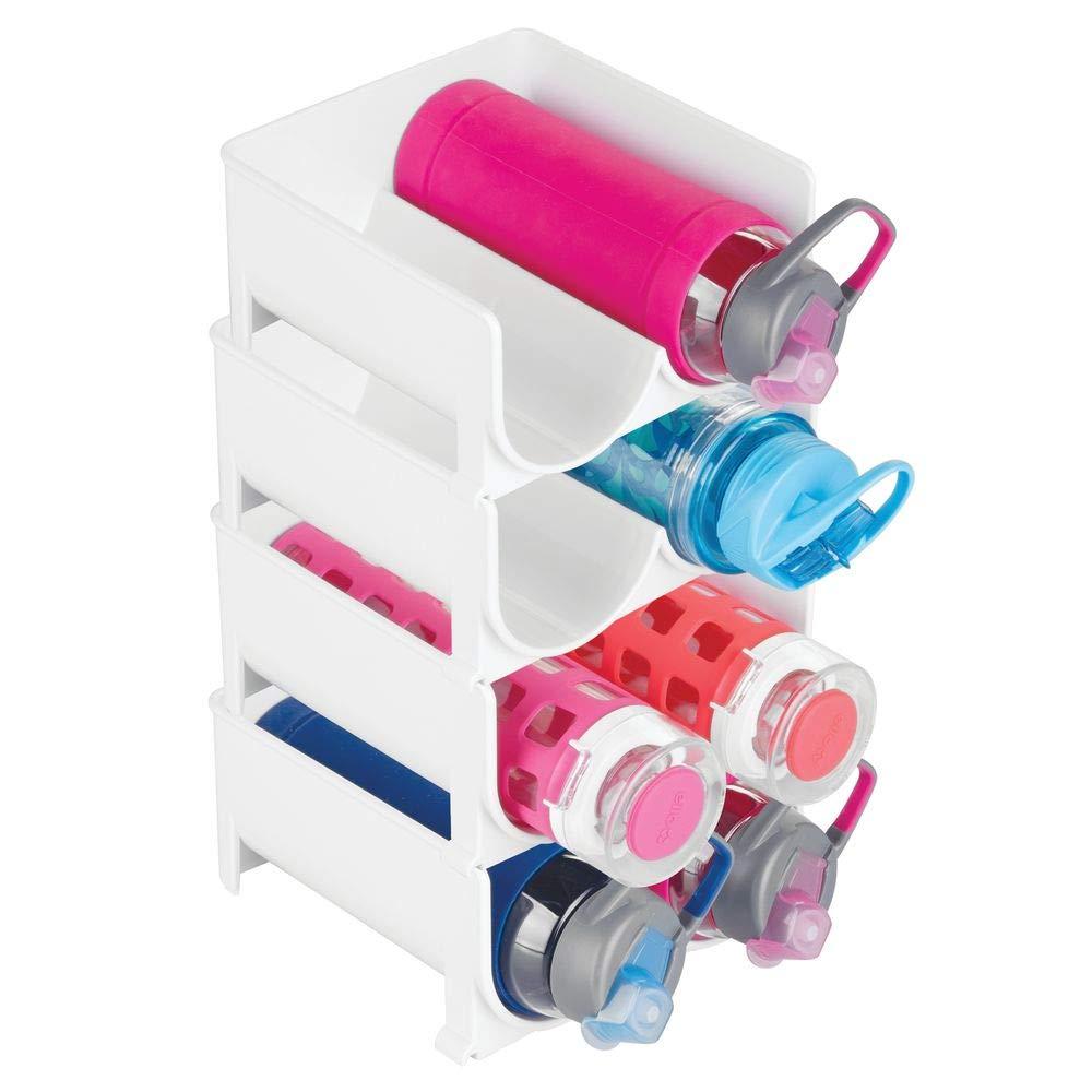 mDesign Plastic Freestanding Water Bottle Storage Organizer for Kitchen Countertop, Table, Pantry, Fridge - Holds Water Bottles, Pop/Soda, Wine, Beer - Stackable, 2 Bottles Each, 4 Pack - White