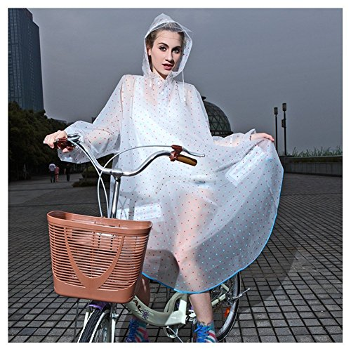 Raincoat Xagoo Regen Jacke Mäntel Wasserdichte Mode-stilvollen Damen der Frauen Mädchen Fast Dry Kapuze reizender netter Polka-Punkt-Regenkleidung für Fahrrad-Motorrad-Motorrad (Blaue und rosa)