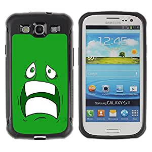LASTONE PHONE CASE / Suave Silicona Caso Carcasa de Caucho Funda para Samsung Galaxy S3 I9300 / Sad Scared Face Ugly Fear Cartoon Green Teeth