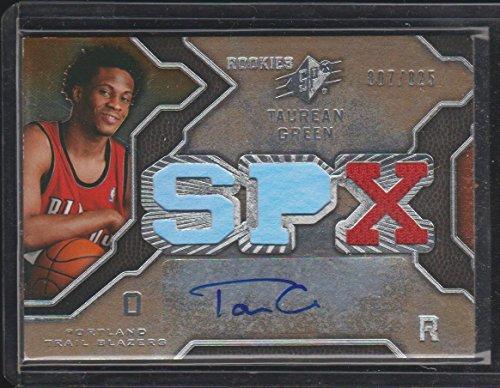 2007 SPx Taurean Green Blazers 807/825 Auto/Jersey Rookie Basketball Card #130