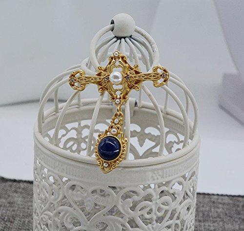 Europe retro baroque pearl brooch women girls pattern embossed matte gold cross corsage - Embossed Cross Pearl