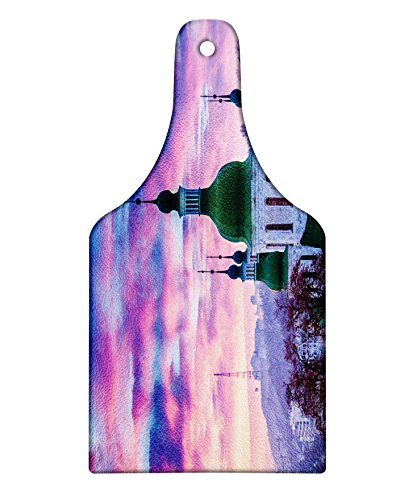 Lunarable Wanderlust Cutting Board, Sunset and Cloud Over Cityscape Kiev Ukraine Europe Building Evening, Decorative Tempered Glass Cutting and Serving Board, Wine Bottle Shape, Pale Muave Green - Sunset Over Glass