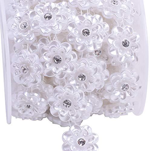 KAOYOO 5 Yards Flowers Shaped with Rhinestone Chain Sew on Trims Wedding Dress Decoration Beaded Trim