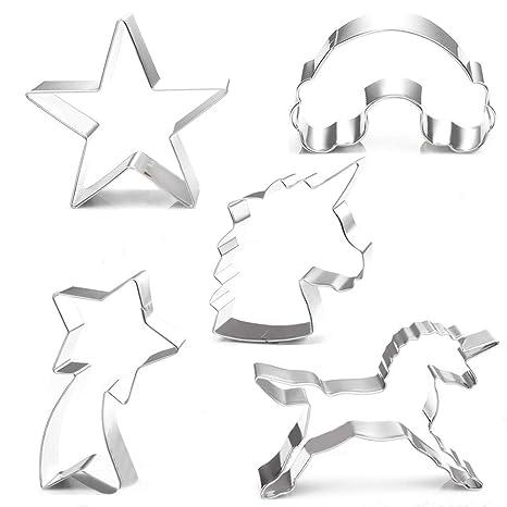 Amazon.com: Juego de 5 cortadores de galletas de unicornio ...