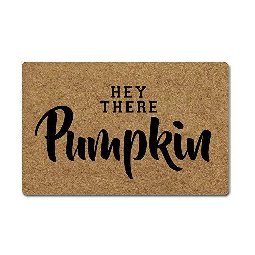 Pumpkin Door - AoBoDo Halloween Doormat Hey There Pumpkin Door Mat Rubber Non-Slip Entrance Rug Floor Door Mat Funny Home Decor Indoor Mats 23.6 x15.7 Inches