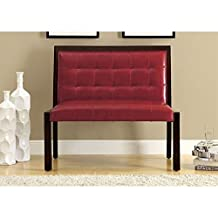 Monarch Specialties Leather-Look Wood Length Bench, 40-Inch, Burgundy