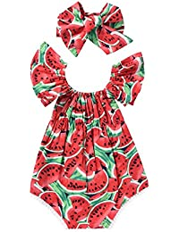 834a7254f56 0-24M Baby Girl Toddler Summer Clothes Watermelons Short Sleeve Off  Shoulder Romper Jumpsuit Outfits